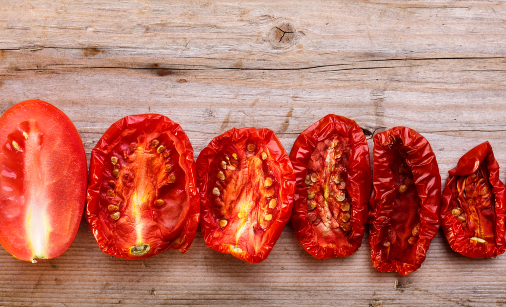 Stages of Drying Tomatoes