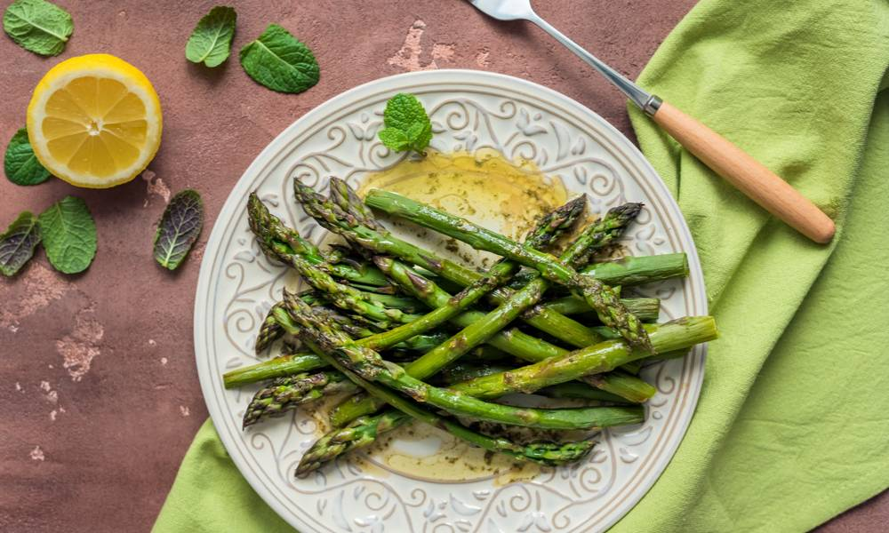 Just a touch of butter is all it takes to enhance the divine flavor of sous vide asparagus.