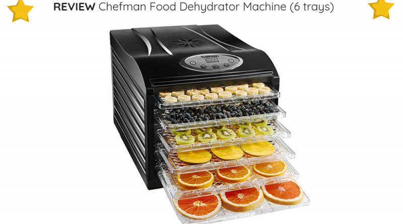 The Chefman Food Dehydrator Machine (6 trays) is budget-friendly yet offers a powerful performance.