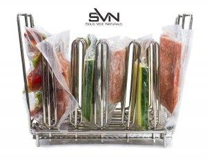 A sous vide rack will help you separate the bags in the container for more even results.