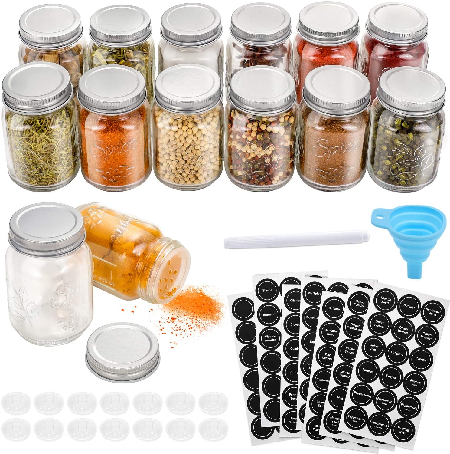 12Pcs Sturdy Clear Spice Bottle Storage Box with Sifter Lid for Kitchen Herb Hot